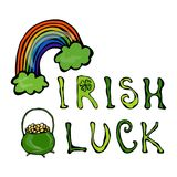 Irish Luck Logo with Rainbow and Pot of Gold. In Circle frame of clover. Outline. Typographic design for St. Patrick Day. Savoyar royalty free illustration