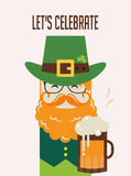 Irish man with beer, St. Patricks Day design Stock Photos