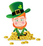 Irish man on gold coin for St. Patricks Day card Royalty Free Stock Photography