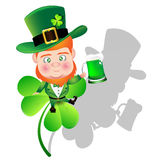 Irish man irish man hold beer on Shamrock for St  Patrick Day ca Royalty Free Stock Photo