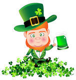 Irish man irish man hold beer on Shamrock for St. Patricks Day Royalty Free Stock Image