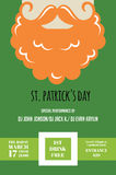 Irish man with mustache and beard for St. Patricks Day pub or party invitation Royalty Free Stock Photo