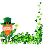 Irish man with Shamrock frame for St. Patricks Day card Royalty Free Stock Images