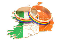 Irish map with LGBT rainbow rings, 3D rendering Stock Photo