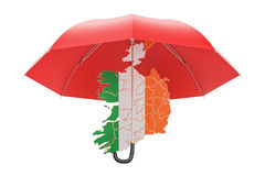 Irish map under umbrella. Security and protect or insurance conc Stock Photo