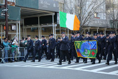 Irish military personnel marching at the St. Patrick`s Day Parade in New York. Royalty Free Stock Photography