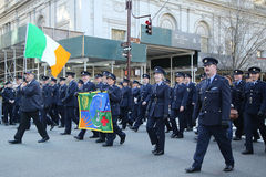 Irish military personnel marching at the St. Patrick`s Day Parade in New York. Stock Image
