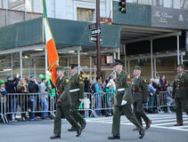 Irish military personnel marching at the St. Patrick`s Day Parade in New York. Stock Photo