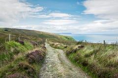 Irish Moorland Trail. Remote coastal trail over the Irish moorland in Donegal stock photo