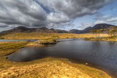 Irish mountains of Connemara. Connemara mountains and lake scenery, Ireland Stock Image
