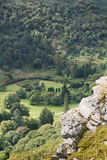 Irish mountains covered in trees with some rocks. The green Irish mountains covered in trees with some rocks in the view royalty free stock image