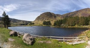 Between the Irish mountains. A mountain lake next to woods in an Irish national park royalty free stock images