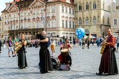 Irish musicians in Prague Royalty Free Stock Image