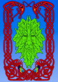 The Irish mythical Green man. In stained glass style Stock Photo