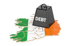 Irish national debt or budget deficit, financial crisis concept,. 3D Royalty Free Stock Photo