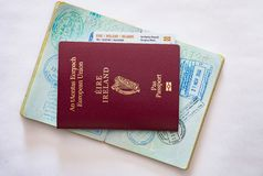 Irish Passport and EU Travel Card. Irish people are known fro traveling around globe to live and work royalty free stock images