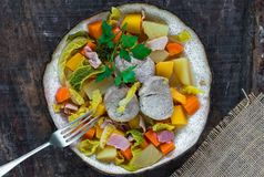 Irish stew with pork and vegetables cooked in cider - top view stock images