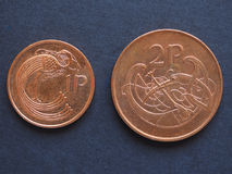 Irish Pound (IEP) coins Royalty Free Stock Photo