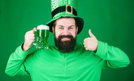 Irish pub. Drinking beer part celebration. Fest and holiday menu. Dyed green traditional beer. Lets start patricks party. Alcohol beverage. Irish tradition royalty free stock images