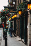 Irish pub at Temple Bar. Traiditional Irish pub with lantern lights and flowers at Temple bar, Dublin. 27 Oct 2016 Stock Image