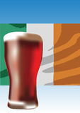 Irish red ale. Red ale beer with Irish flag illustration vector illustration