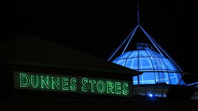 Irish retail giant Dunnes Stores brand light up signage Stock Photos