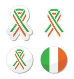 Irish ribbon flag labels - St Patricks Day celebration Royalty Free Stock Photos