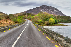 Irish road with mountain view. In Connemara Royalty Free Stock Photography