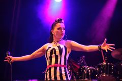 Irish rockabilly singer Imelda May during his show in Cruilla Barcelona Festival, July 12, 2014 Stock Photography