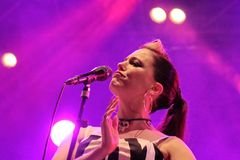 Irish rockabilly singer Imelda May during his show in Cruilla Barcelona Festival, July 12, 2014 Royalty Free Stock Images