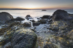 Irish Rocky Shore At Sunrise With Colorful Sky Royalty Free Stock Photography
