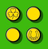 Irish Saint Patrick Pins. Irish themed Saint Patrick Day four gold coins design with a lucky horseshoe and clover vector illustration
