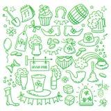 Irish Saint Patrick s Day icons and elements isolated on white background. Traditional hand drawn Irish party symbols Stock Photos