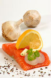 Irish salmon fillet and lemon, pepper Stock Photos
