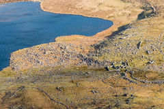 Irish scenery. The View of glacier lake from above in a spring morning. Typical Irish country side scenery with lot of rocks and water stock images