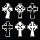 Irish, Scottish celtic cross on black  sign Stock Photos
