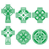 Irish, Scottish Celtic green cross on white vector sign. Celtic crosses white pattern set isolated on white Royalty Free Stock Photo