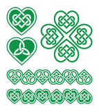 Irish, Scottish Celtic green heart  pattern Royalty Free Stock Photography