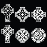 Irish, Scottish Celtic white cross on black Royalty Free Stock Photos