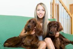 Irish setters next to a woman. Two red Irish setters next to a smiling woman on a sofa.Focus on dogs Stock Photography