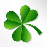 Irish shamrock. Illustration of Irish Shamrock clover in shades of green with nicely curving stalk, white background Royalty Free Stock Photo