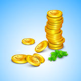 Irish shamrock leaves and golden coins Royalty Free Stock Photography