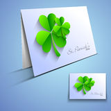 Irish shamrock leaves greeting or gift card Stock Images