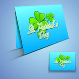 Irish shamrock leaves greeting or gift card Stock Image