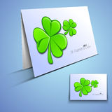 Irish shamrock leaves greeting or gift card Royalty Free Stock Photo
