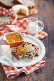Irish soda bread. Grain Irish soda bread slice, brie cheese and jam on plate, selective focus stock image