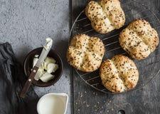 Irish soda bread buns. Top view Royalty Free Stock Images