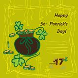 Irish st patrick day party card with flat symbols of the holiday and place for text. Vector illustration Royalty Free Stock Photography