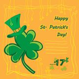 Irish st patrick day party card with flat symbols of the holiday and place for text. Vector illustration Royalty Free Stock Photos