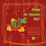 Irish st patrick day party card with flat symbols of the holiday and place for text. Vector illustration Royalty Free Stock Image